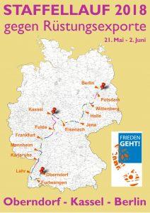 """Grafik """"Staffellauf 2018 gegen Rüstungsexporte"""", Landkarte Deutschlands mit Andeutung des Streckenverlaufs"""